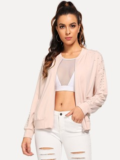 Pearl Beaded Solid Bomber Jacket