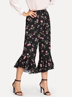 Wide Waistband Ruffle Hem Floral Pants