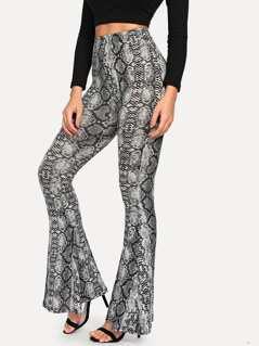 Snake Print Flare Hem Pants