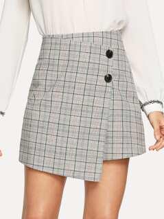 Button Detail Asymmetrical Hem Skirt