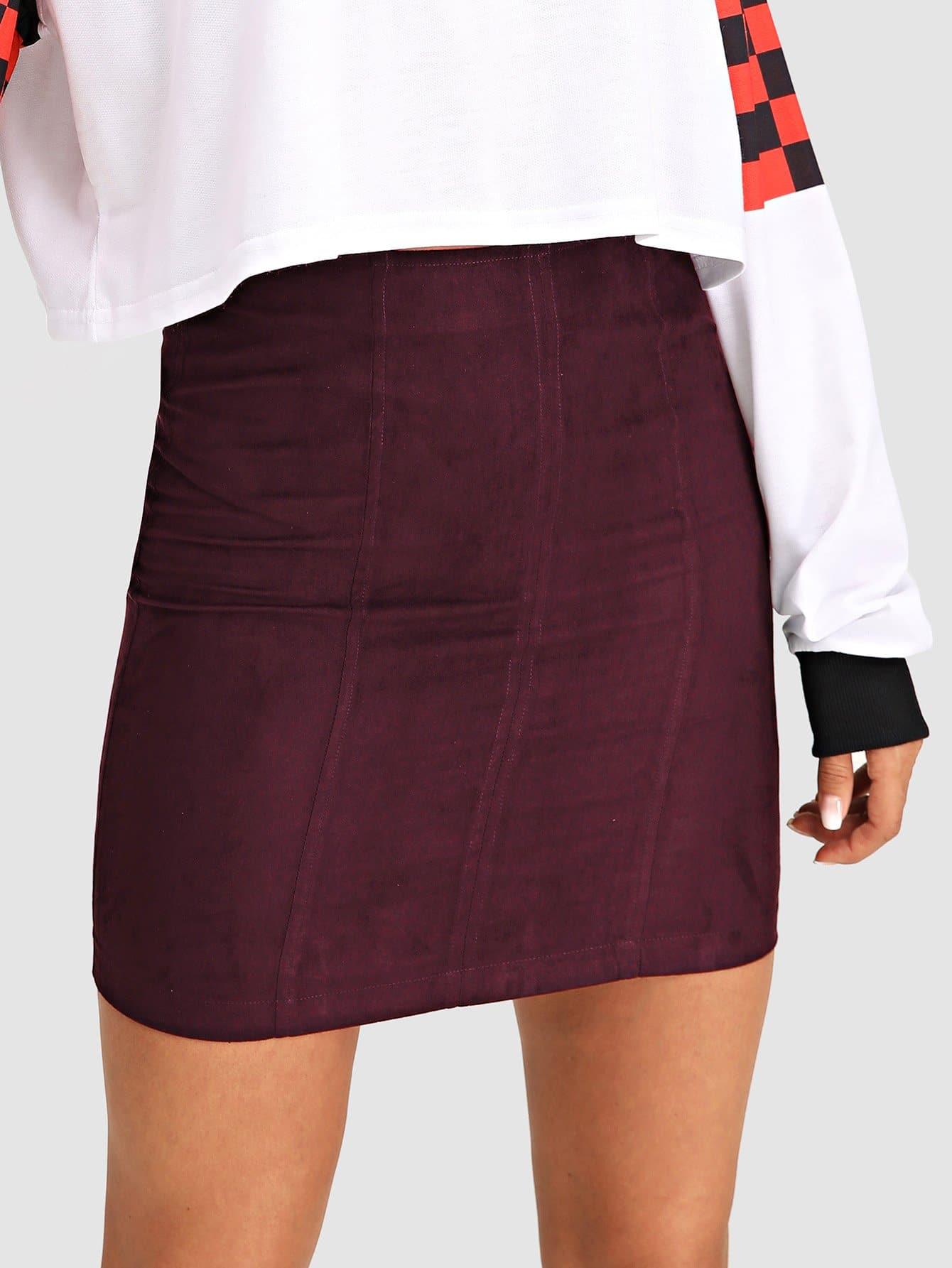 Фото - Одноцветная юбка на молнии от SheIn бордового цвета
