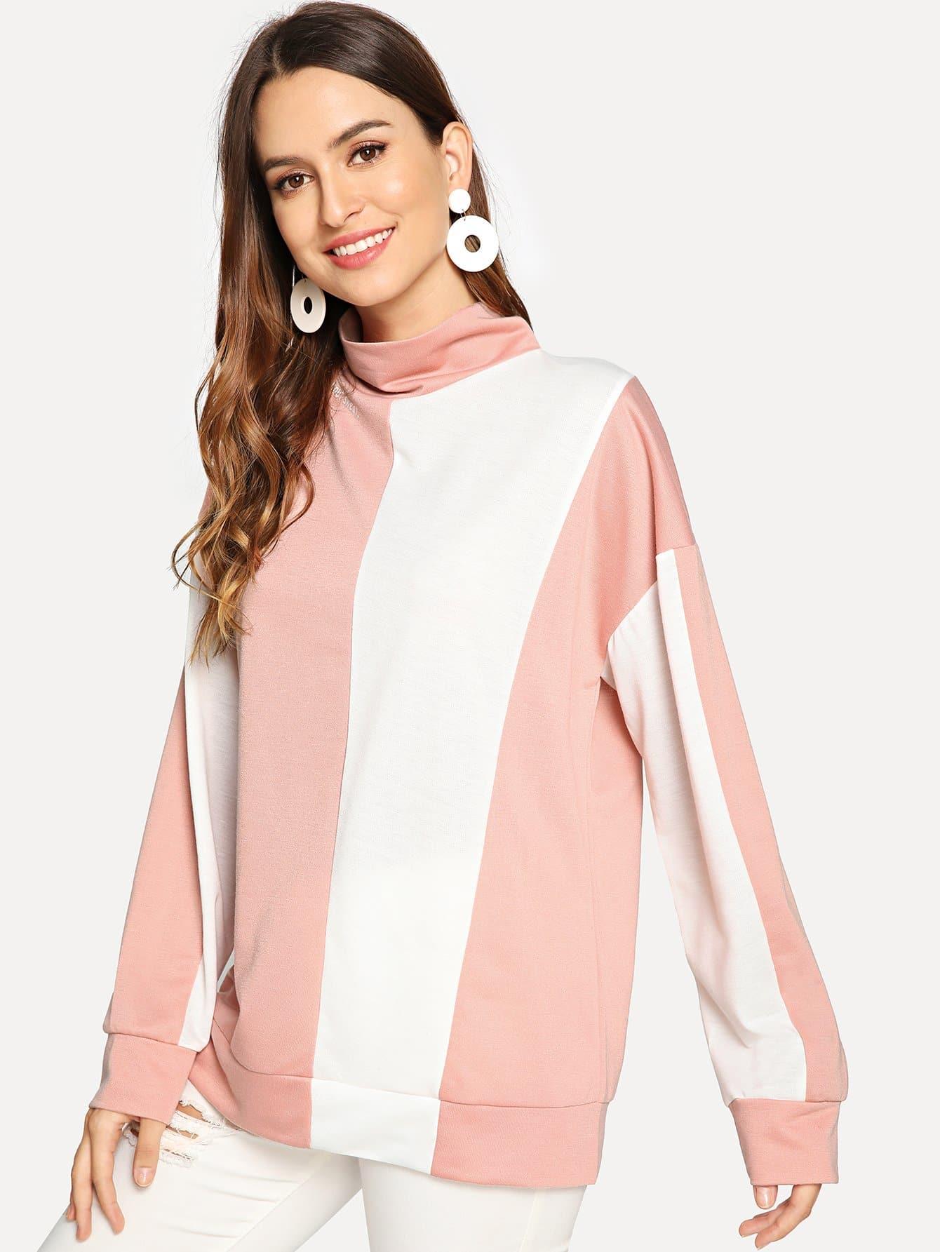 Купить Контрастный пуловер с высоким вырезом, Jana, SheIn