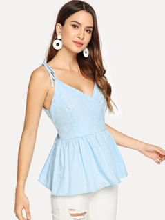 Self Tie Shoulder Surplice Wrap Cami Top