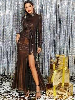 Knot Front High Slit Metallic Dress