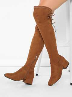 Square Toe Low Block Heel Over the Knee Boots