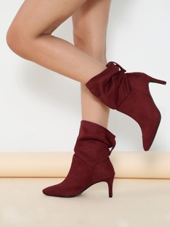 Folded Shaft Pointed Toe Stiletto Heel Boots