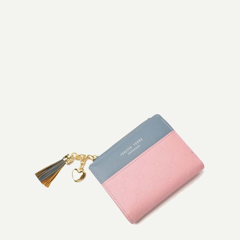Two Tone Tassel Decor Purse, Pink