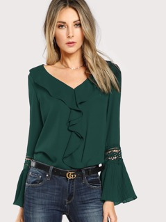 Pleated Guipure Lace Sleeve Ruffle Trim Top