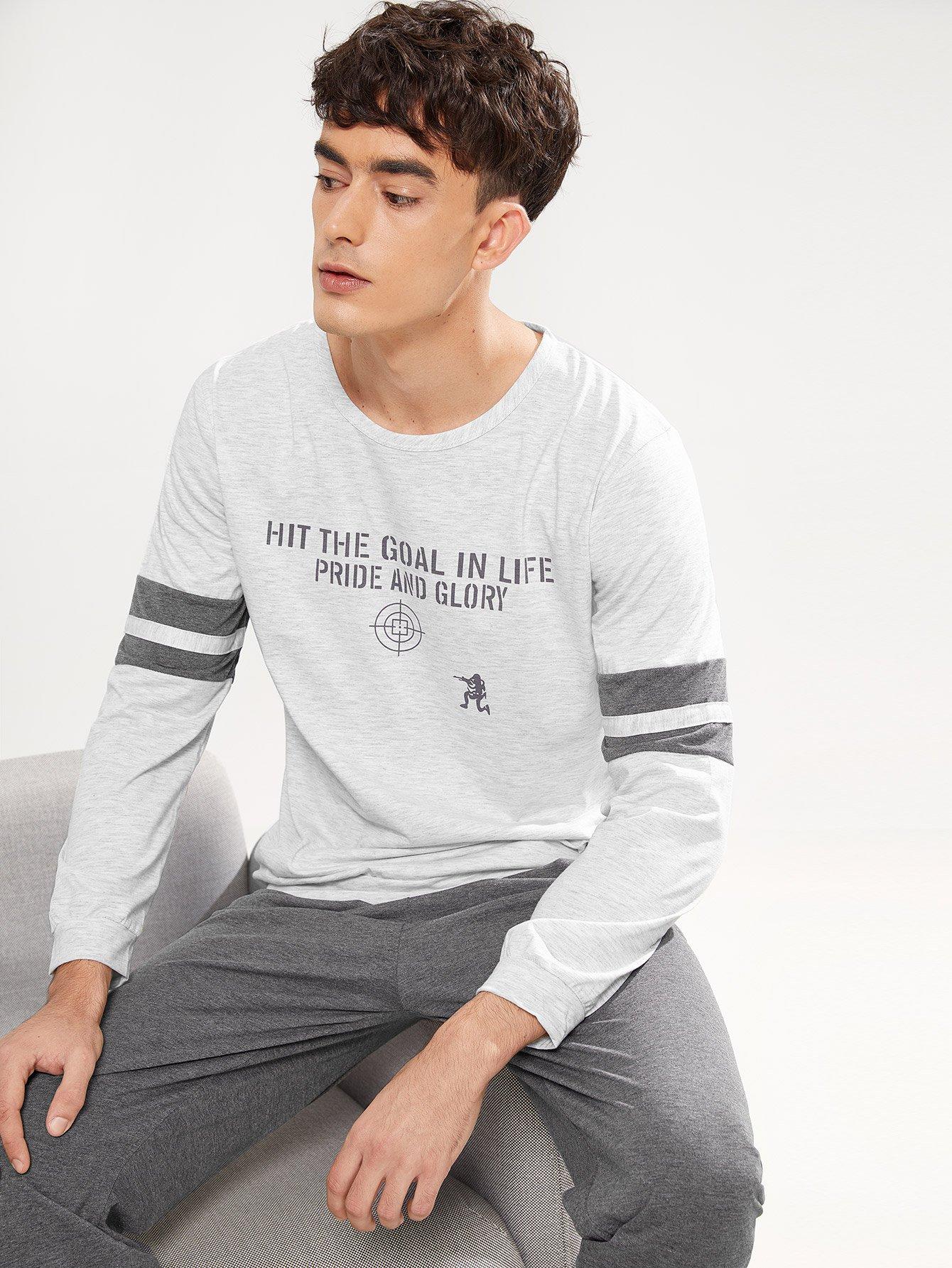 Комплект пижамы с полосатыми рукавами и с рисунками буквы для мужчины от SheIn