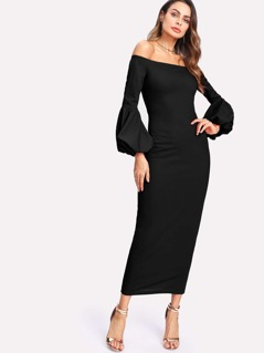 Lantern Sleeve Bardot Dress