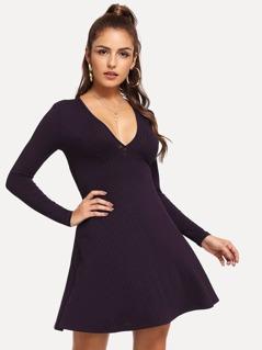 V-Neck Ribbed Knit Dress