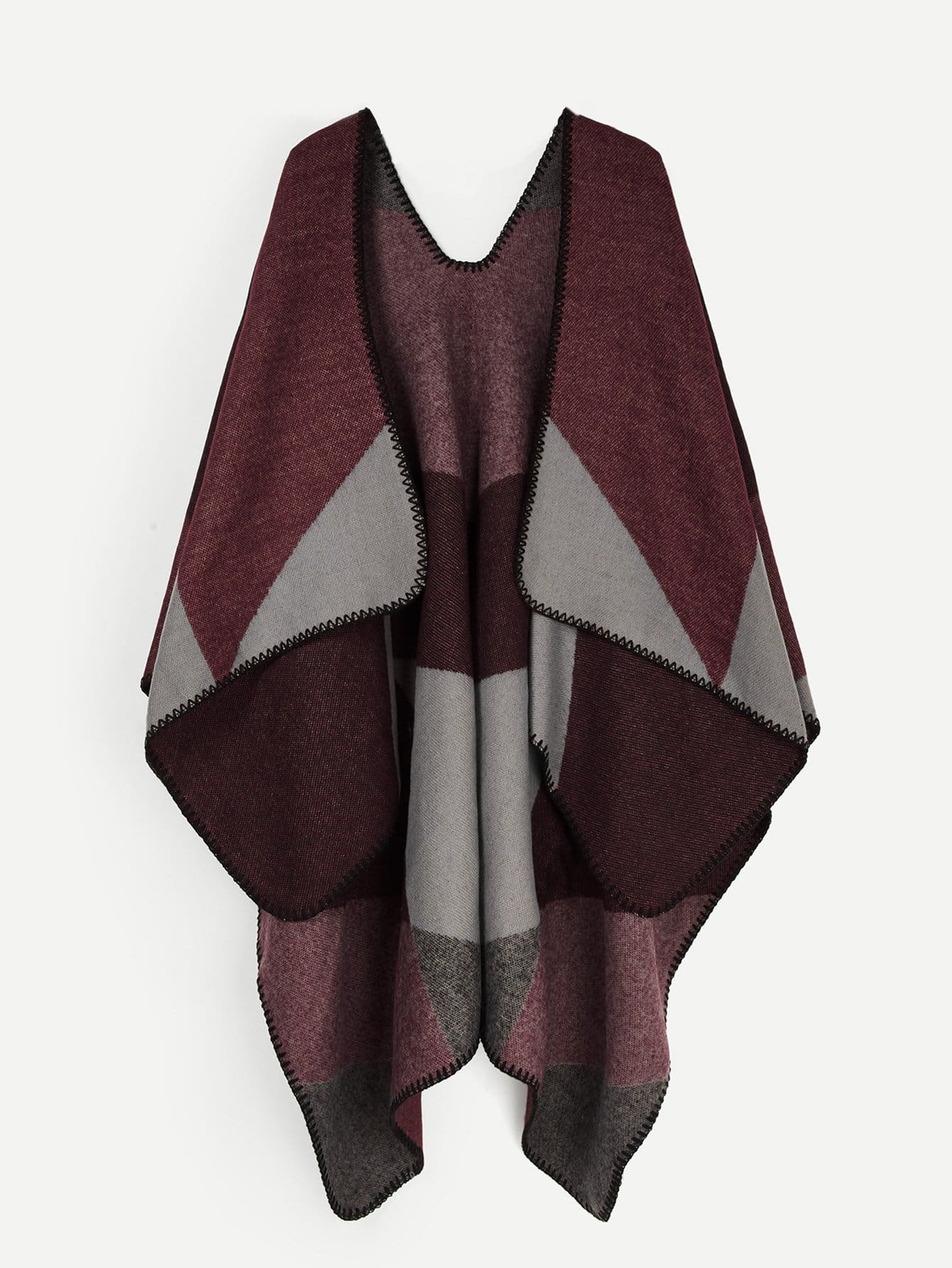 Купить Контрастный шарф со стёжками, null, SheIn