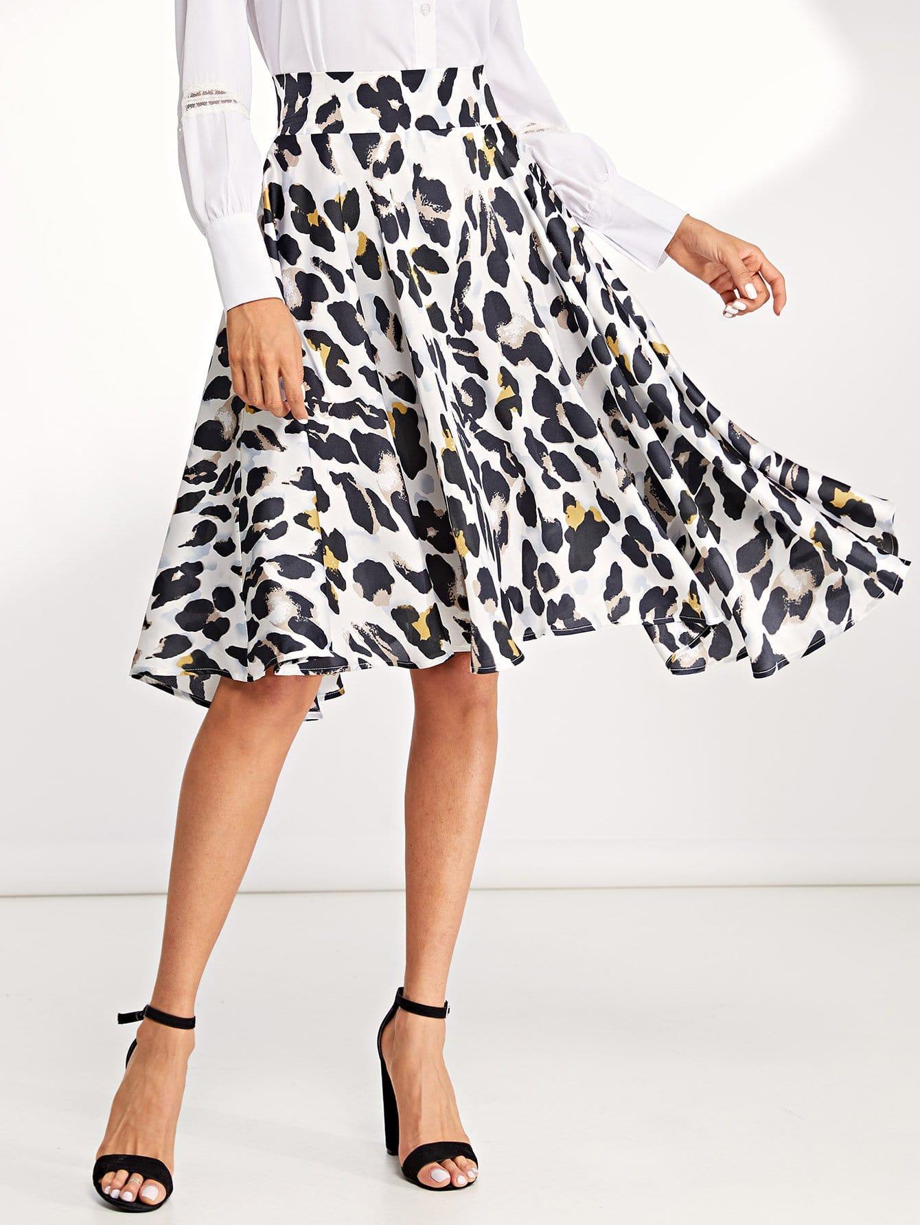 Купить Леопардовая юбка с широкой талией, Andy, SheIn