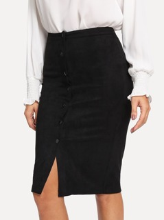 Button Front Split Bodycon Skirt