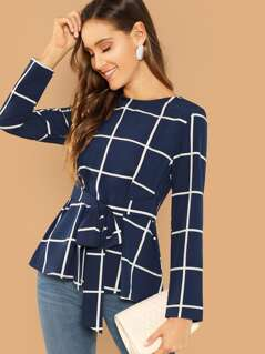 Self Belted Grid Peplum Top