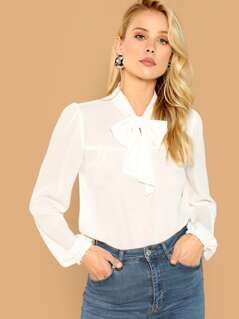 Tie Neck Blouson Sleeve Sheer Top