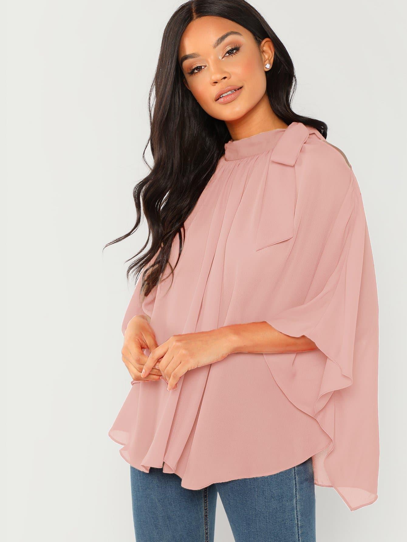 Фото - Шифоновая блузка лук связали шеи от SheIn розового цвета
