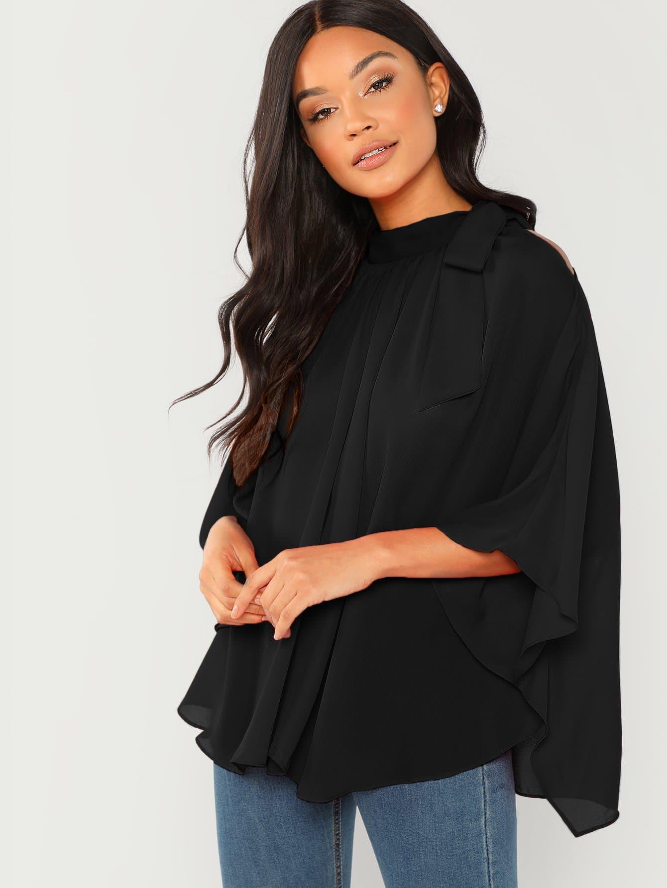 Фото - Шифоновая блузка лук связали шеи от SheIn черного цвета