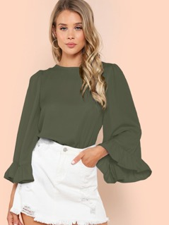 Ruffle Bell Sleeve Tunic Top