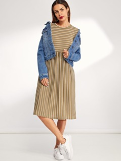 Pocket Side Striped Dress