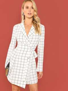 Shawl Collar Surplice Wrap Belted Grid Dress