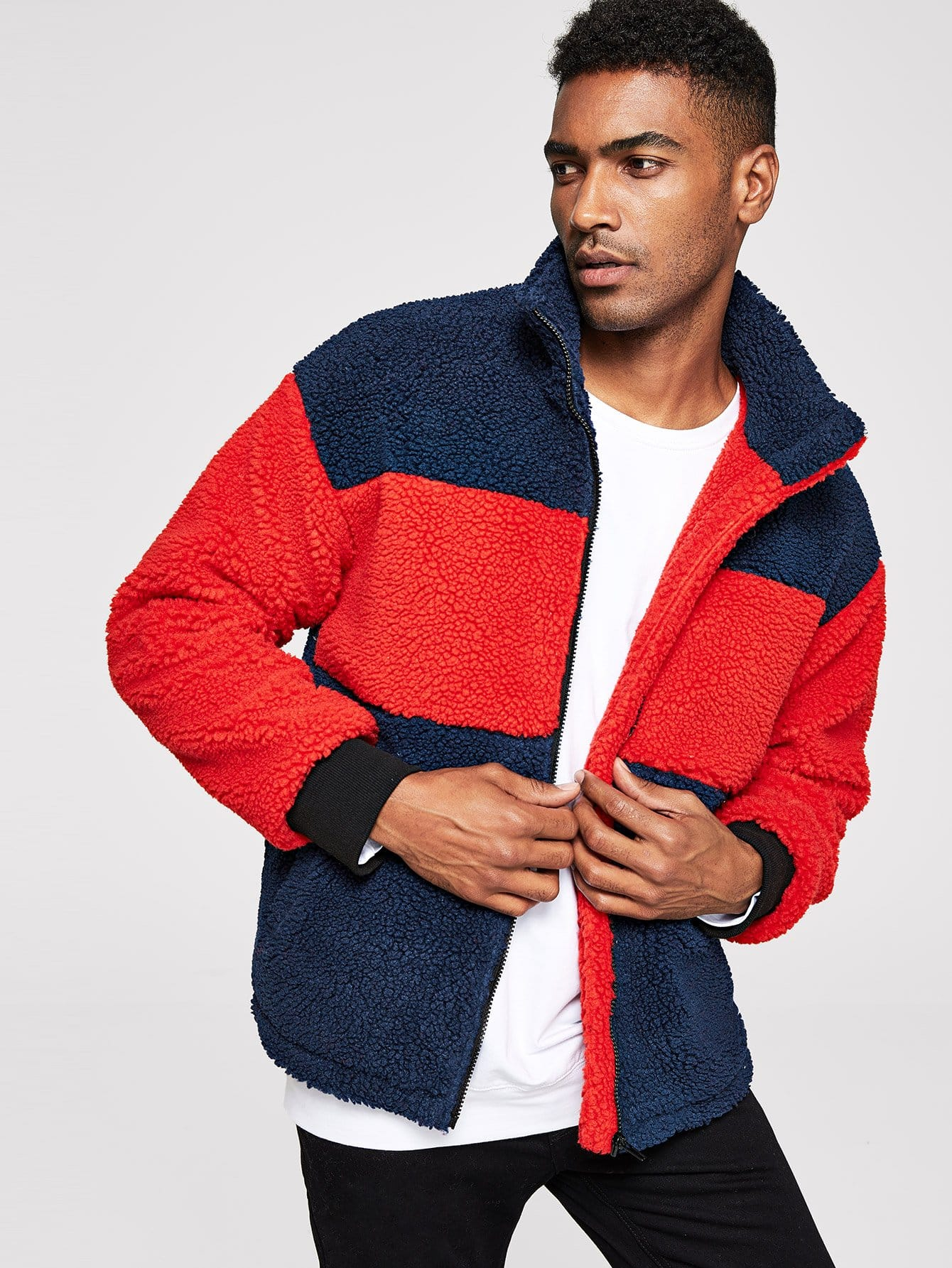 Купить Мужское контрастное пальто Teddy, Johnn Silva, SheIn