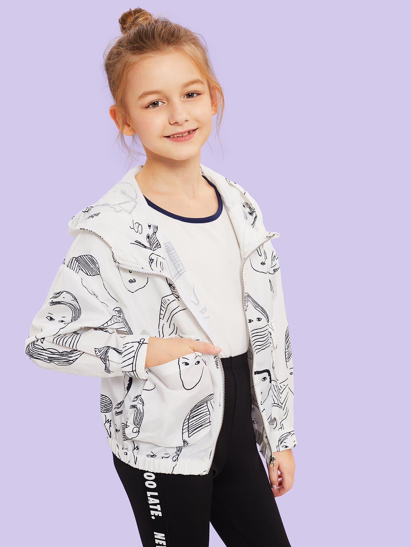 Купить Для девочек куртка с капюшоном на молнии с рисунком принтом, Sashab, SheIn