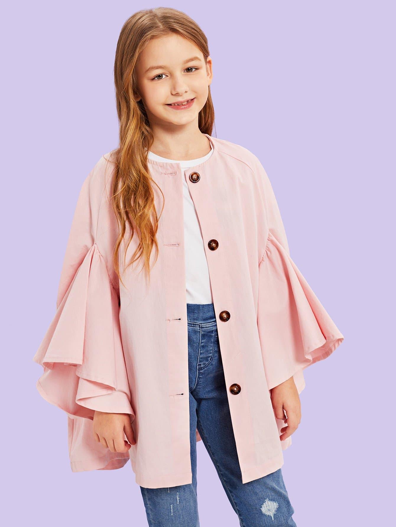Купить Для девочек куртка на пуговицах с рукавом-регланом, Sashab, SheIn