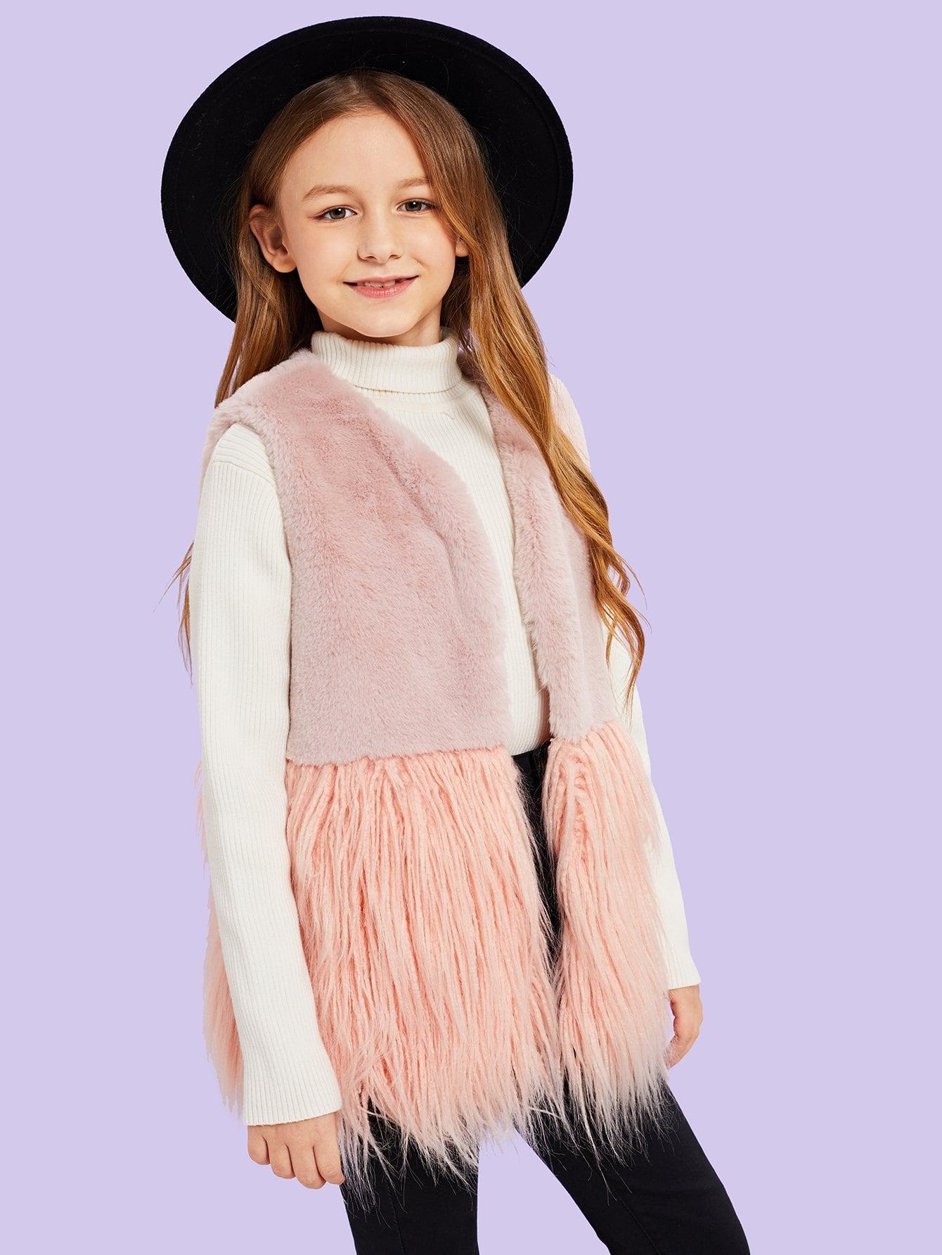 Купить Для девочек пальто без рукавов из искусственного меха, Sashab, SheIn