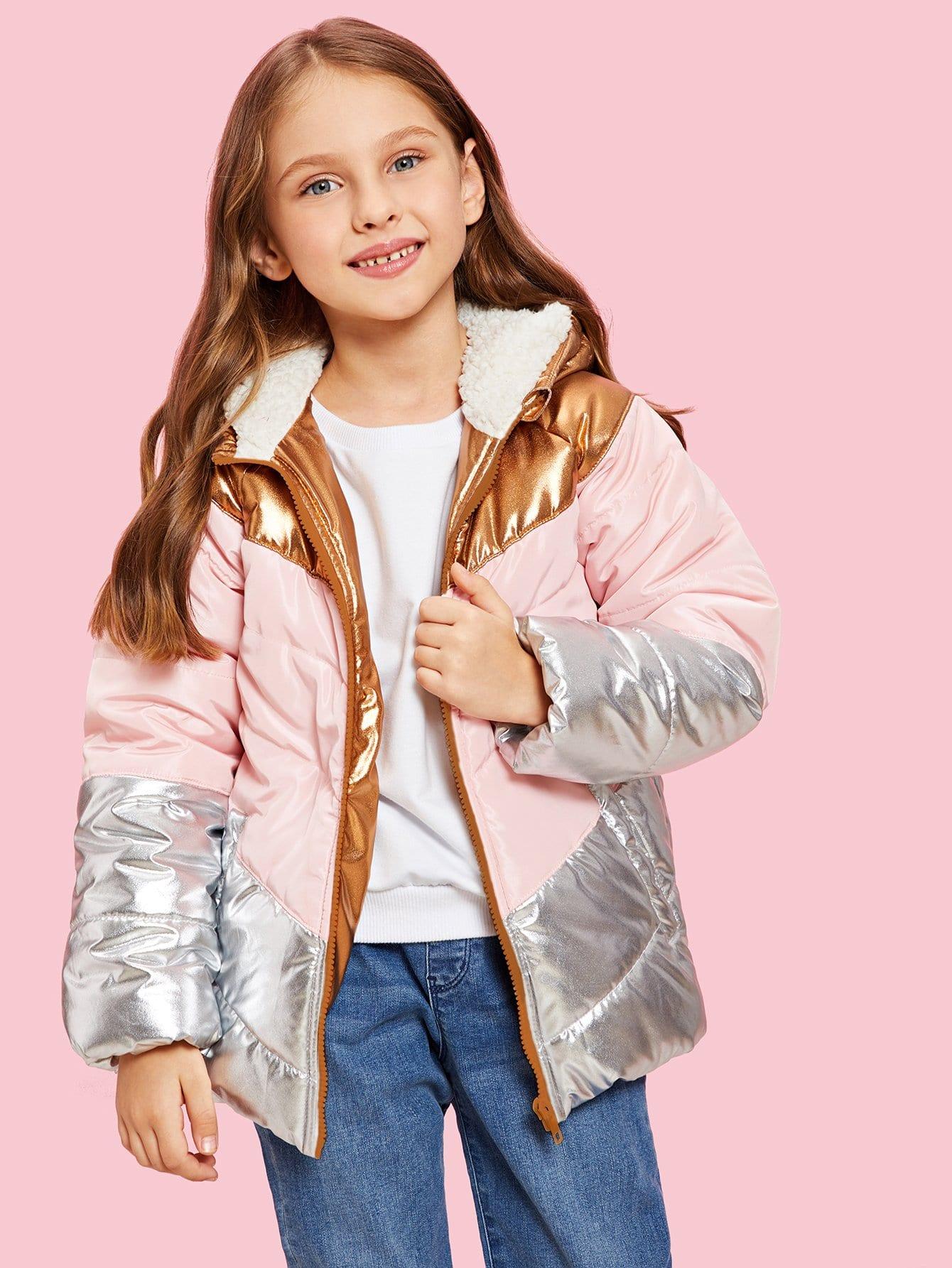 Купить Для девочек контрастная куртка с капюшоном, Anna C, SheIn