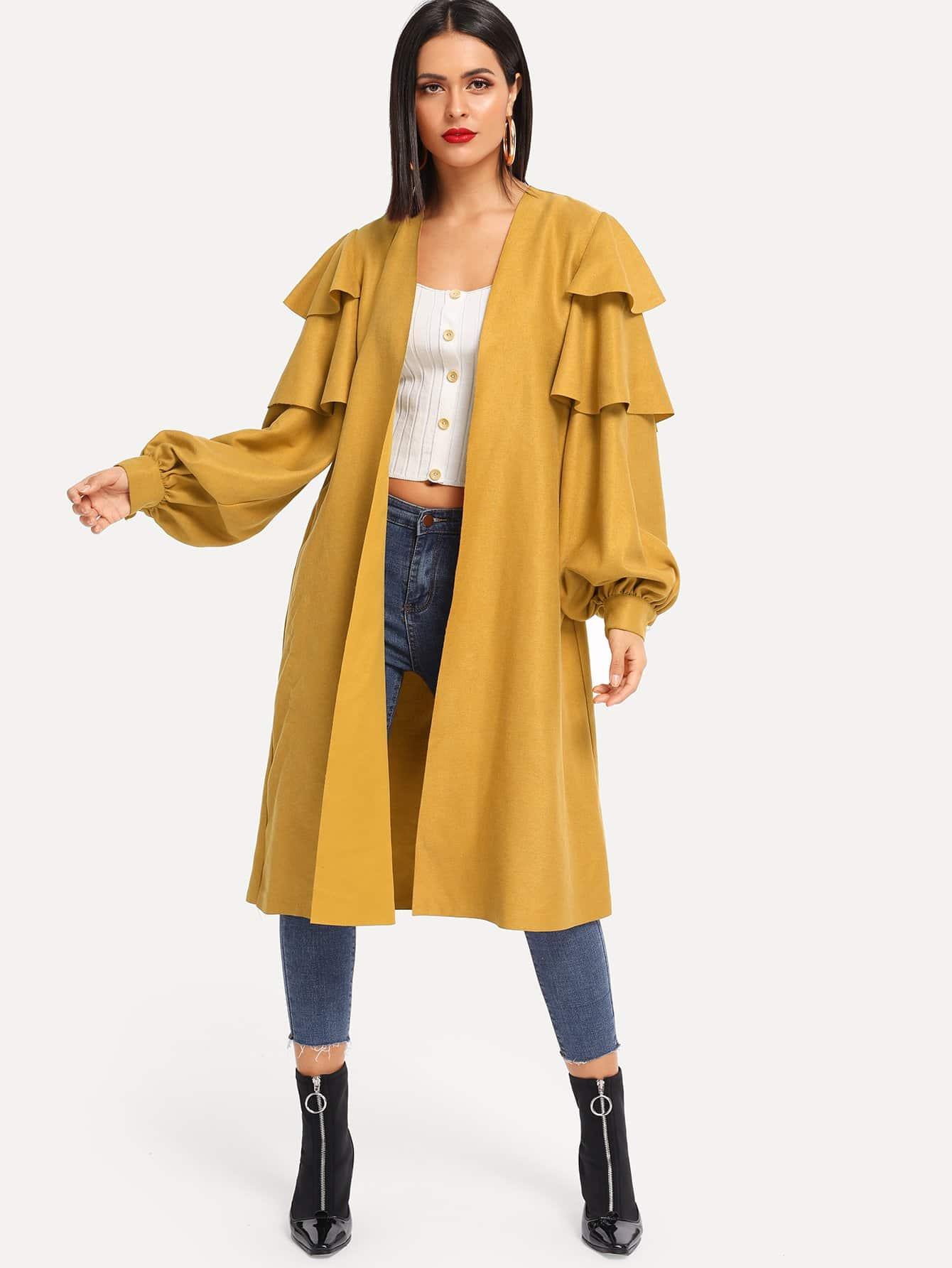 Пальто с поясом со слоистыми оборками SheIn