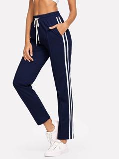 Striped Side Drawstring Waist Pants