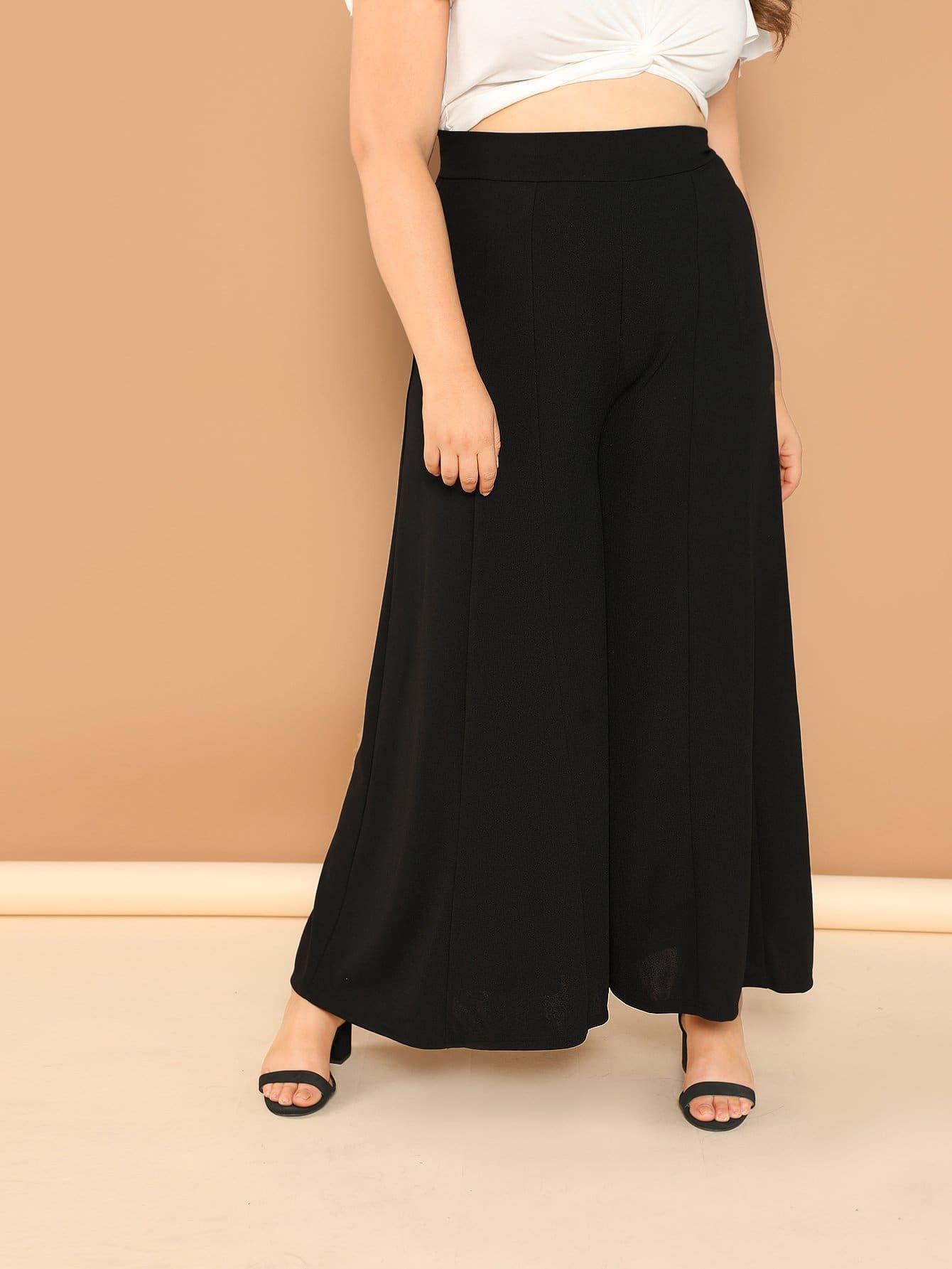 Купить Плюс размеры твердые широкие брюки, Bailey Carr, SheIn