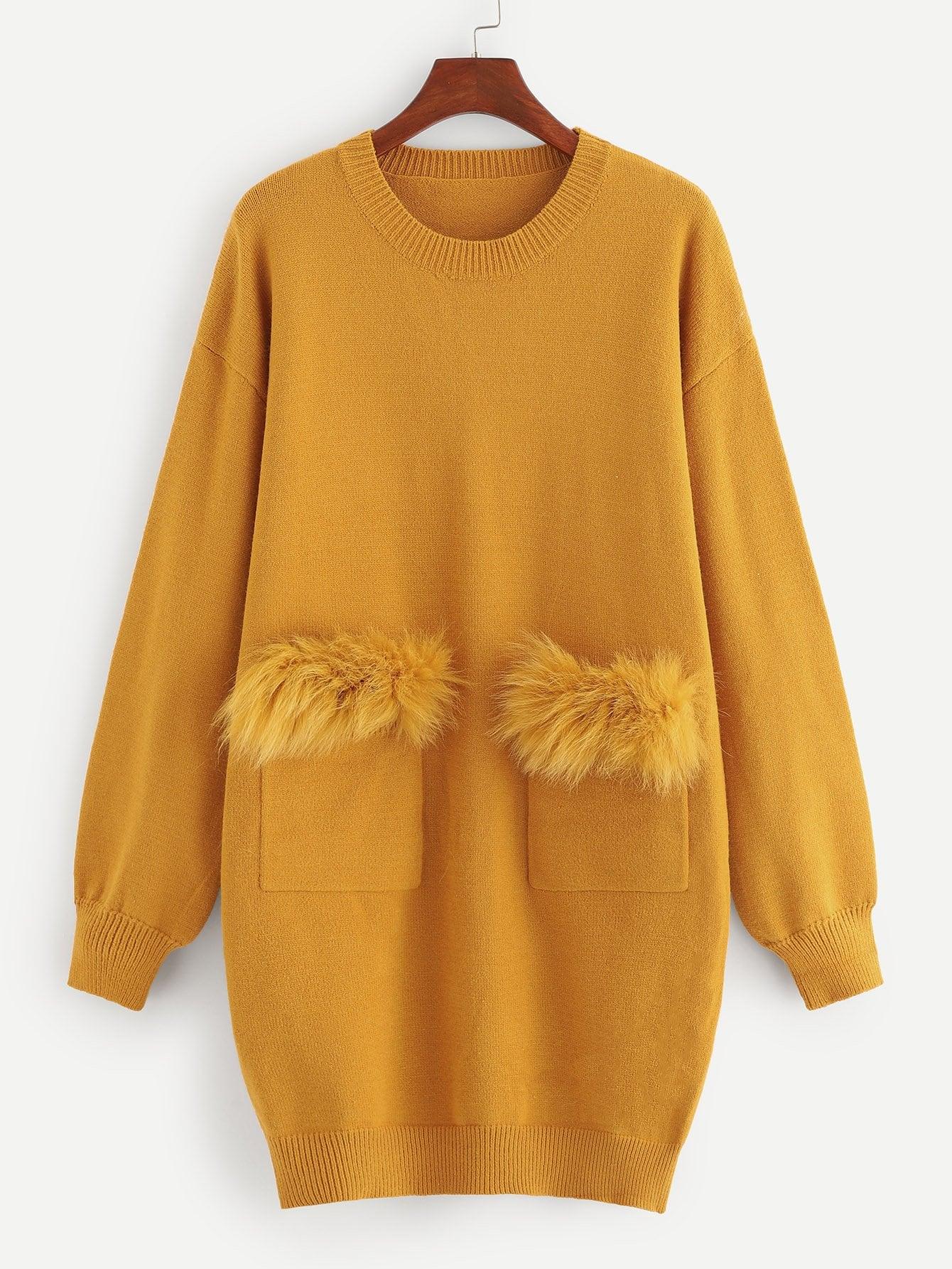 Купить Вязаное платье из искусственных мехов с карманом, null, SheIn