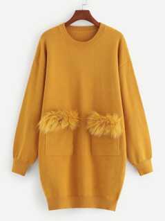 Faux Fur Pocket Patched Knit Dress