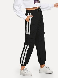 Elastic Waist Drawstring Striped Utility Pants