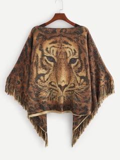 Fringe Trim Tiger Pattern Poncho Sweater