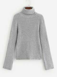 Rolled Up Neck Ribbed Sweater