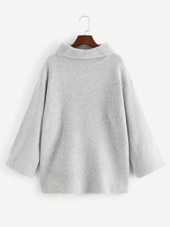 Drop Shoulder Rolled Neck Sweater