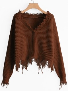 Raw Cut Trim Solid Sweater