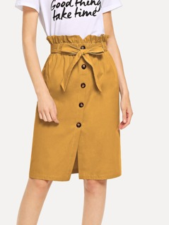 Waist Belted Button Ruffle Split Skirt