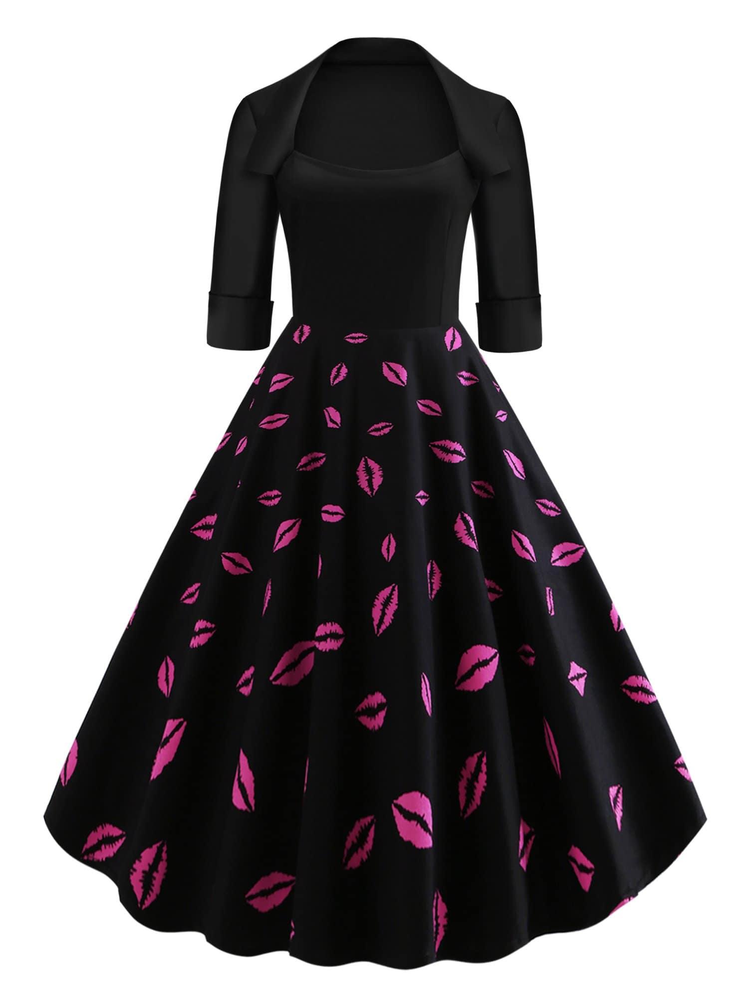 Купить 50s платье клёш с принтом губы, null, SheIn