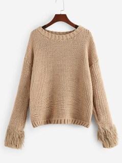 Faux Fur Cuff Drop Shoulder Sweater