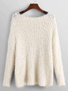 Round Neck Solid Fuzzy Sweater