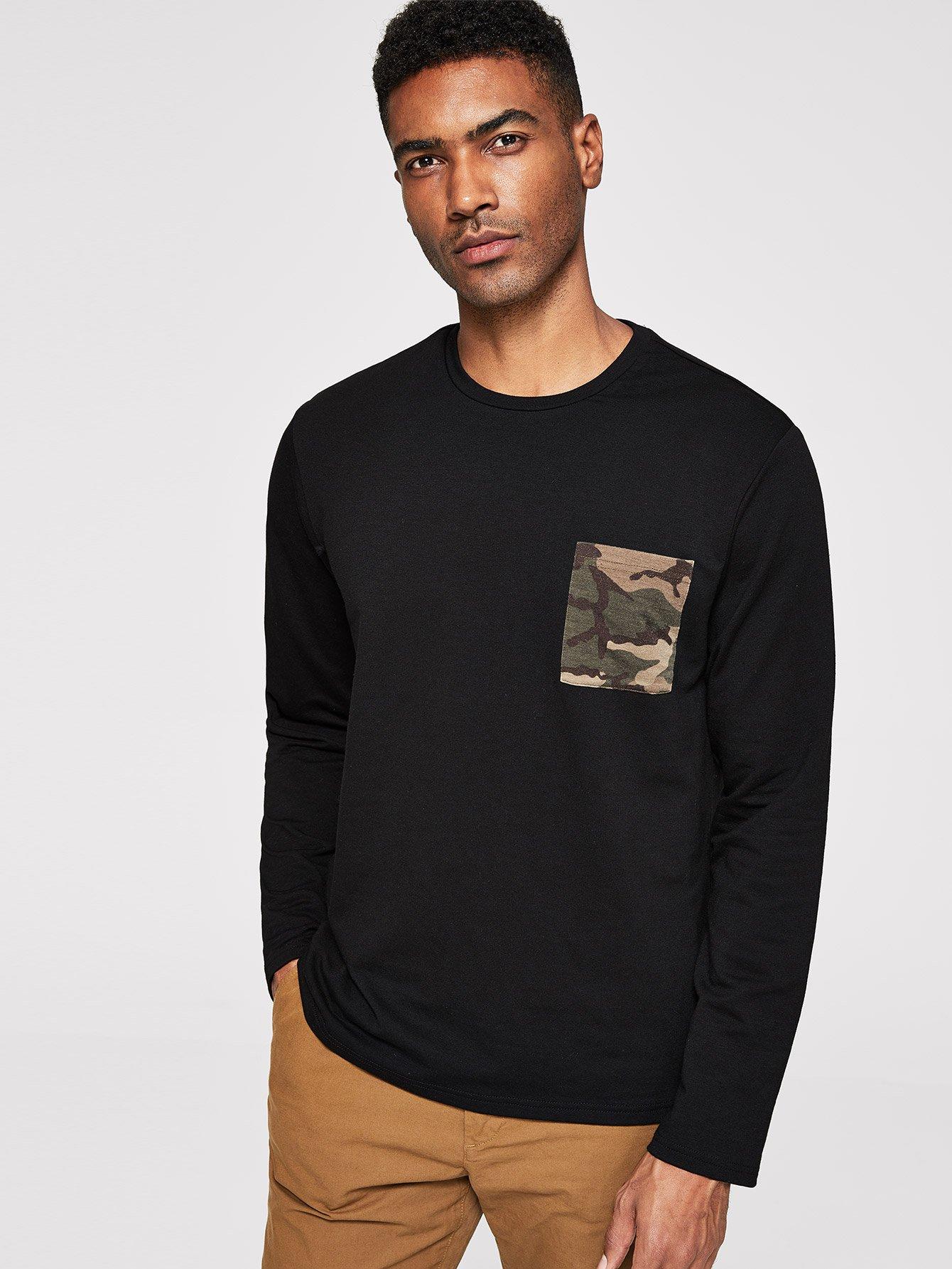 Для девочек камуфляжный пуловер с карманом, Johnn Silva, SheIn  - купить со скидкой