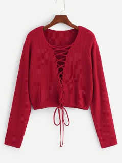 Lace Up Solid Crop Sweater