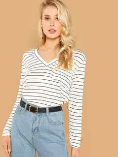 V Neck Pocket Front Striped Tee