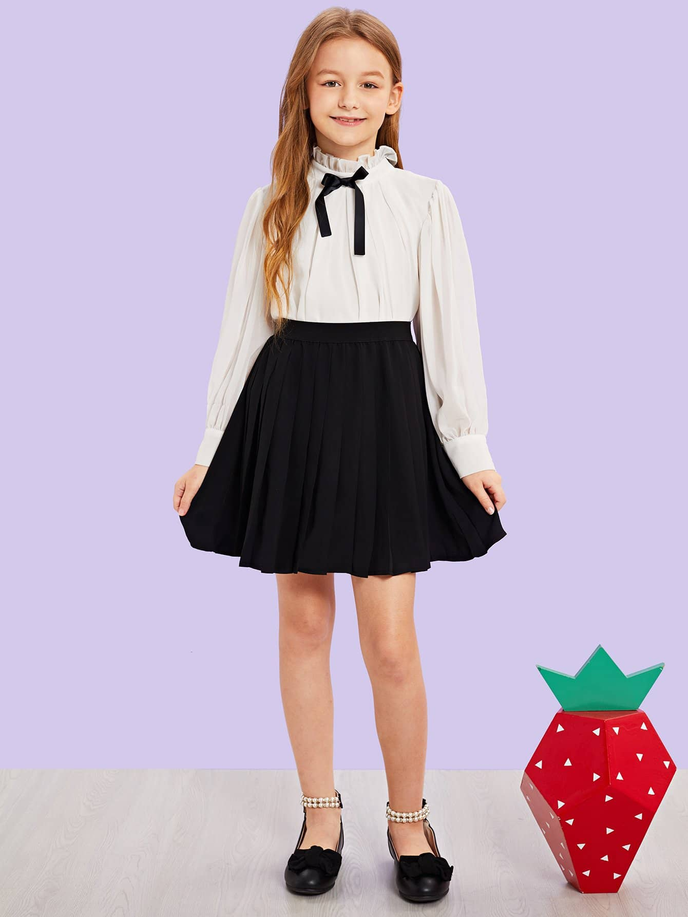 Купить Для девочек топ со складкой вырезом и юбка комплект, Sashab, SheIn