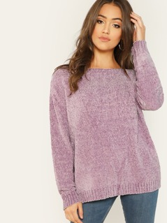 Round Neck Soft Chenille Knit Pullover Sweater