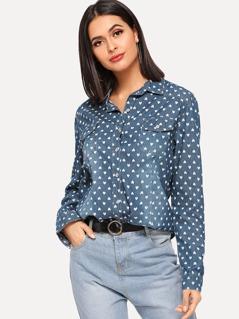 Allover Heart Bleach Wash Denim Shirt